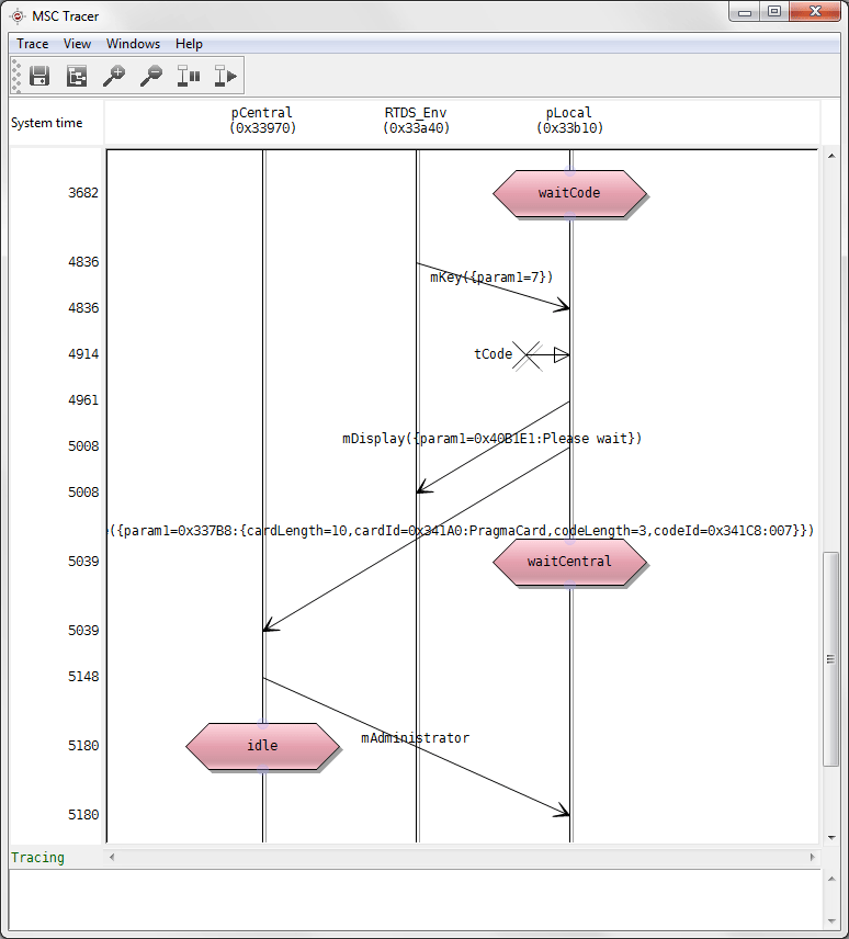 Live execution trace